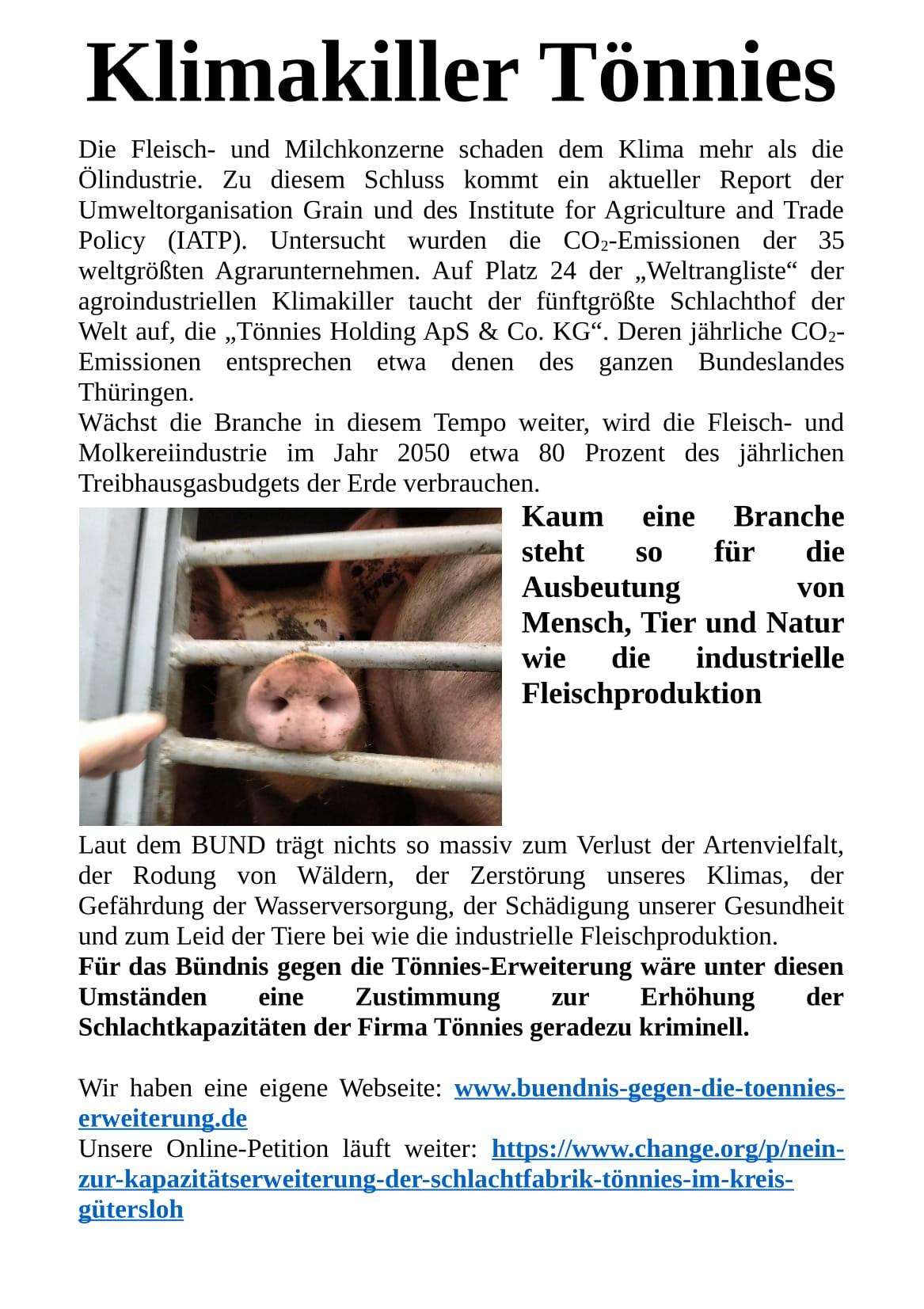 Klimakiller Tönnies - Flyer - Seite 1